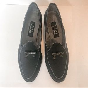 Stuart Weitzman Black Fabric Belgian Loafers